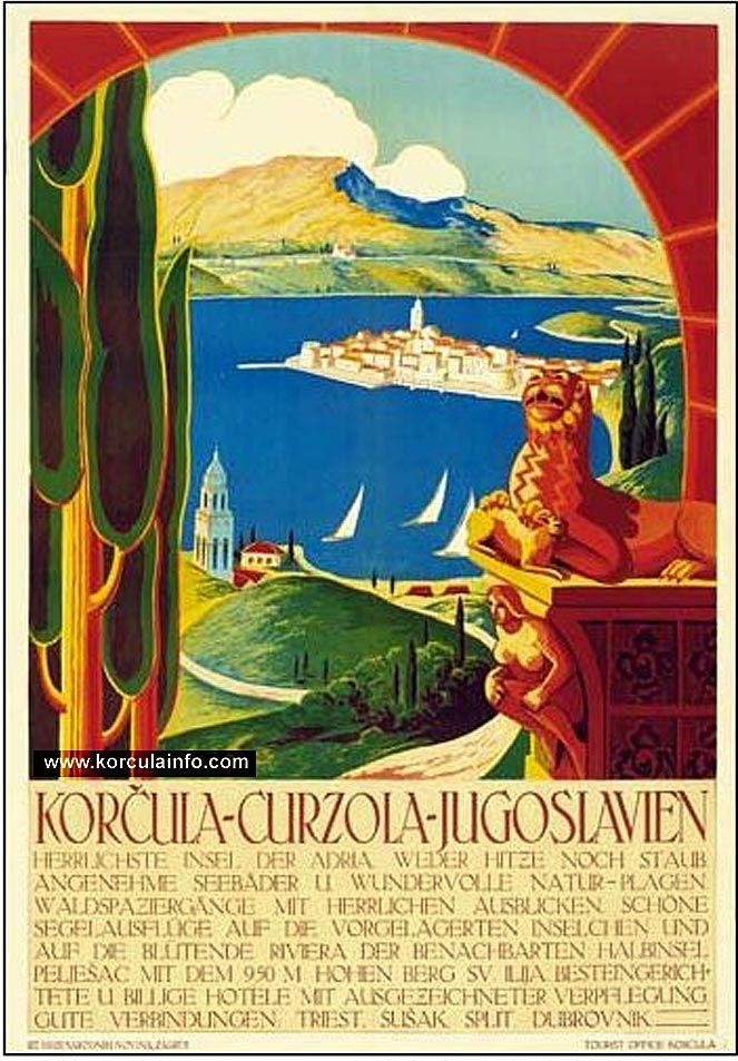 Http Www Korculainfo Com Gallery Var Albums History Tourism Poster Korcula Narodne Novne Zagreb Jpg Vintage Posters Vintage Travel Posters Vintage Poster Art
