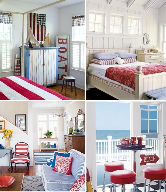 Red White And Blue Beach House Style Decorating Beach Cottage