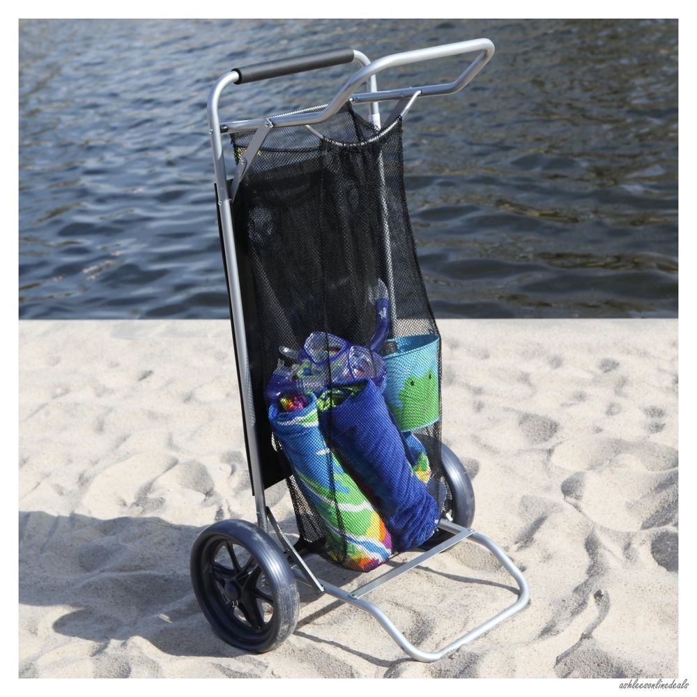 Beach Cart Drink Chair Holder Wheeler Wheels Folding Table