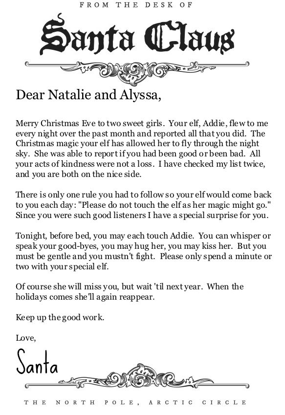 From the Desk of Santa Claus Letterhead: Perfect for an Elf on the ...