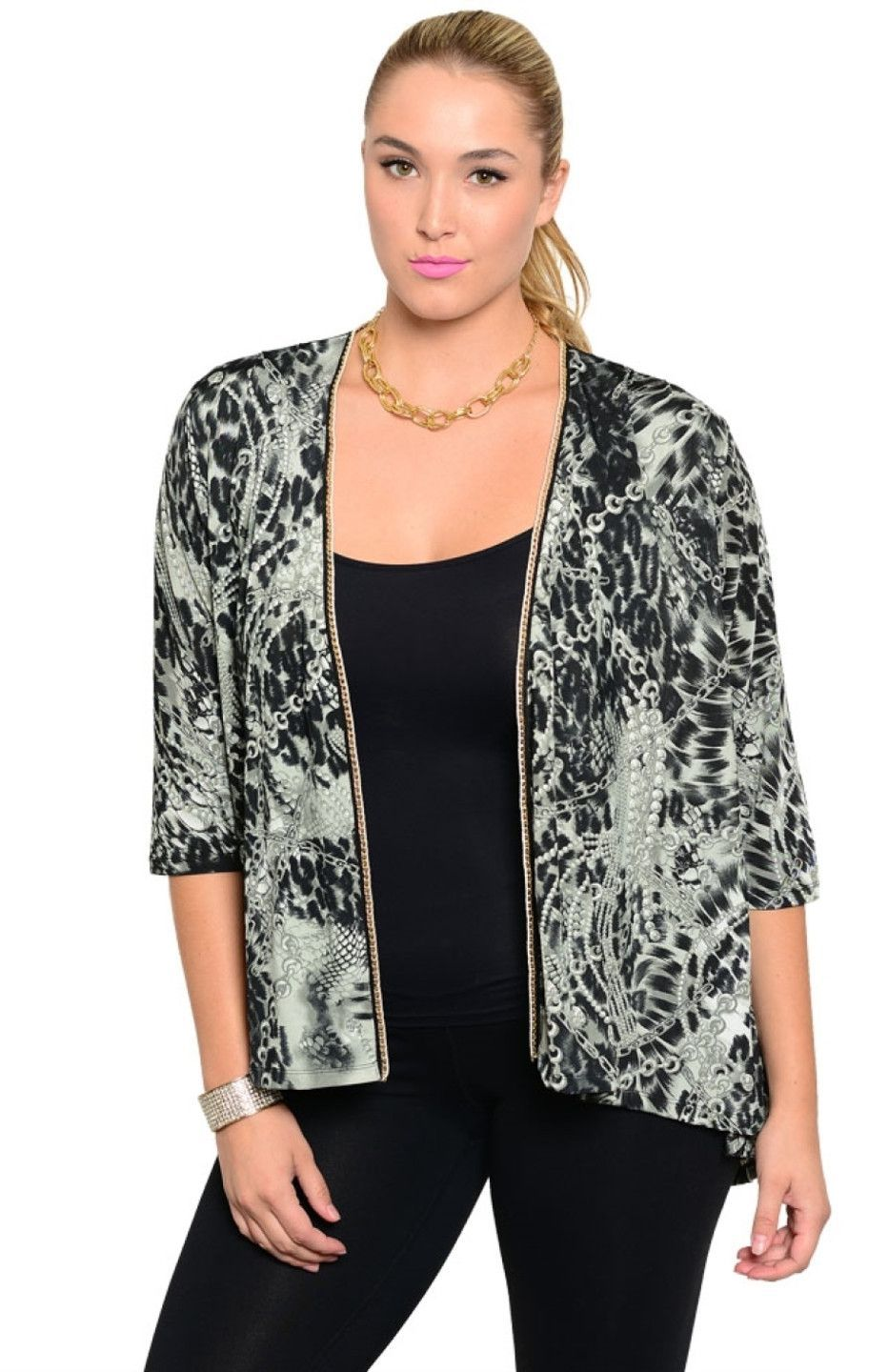 Open Front Lace Yoke Animal Print Cardigan | Bodilove Trendy ...
