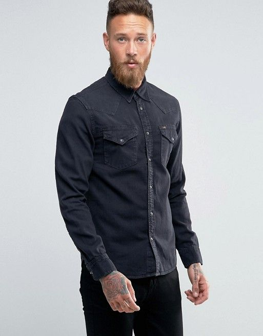 5c48b8c9ec Lee Denim Shirt Western Slim Fit Pitch Black