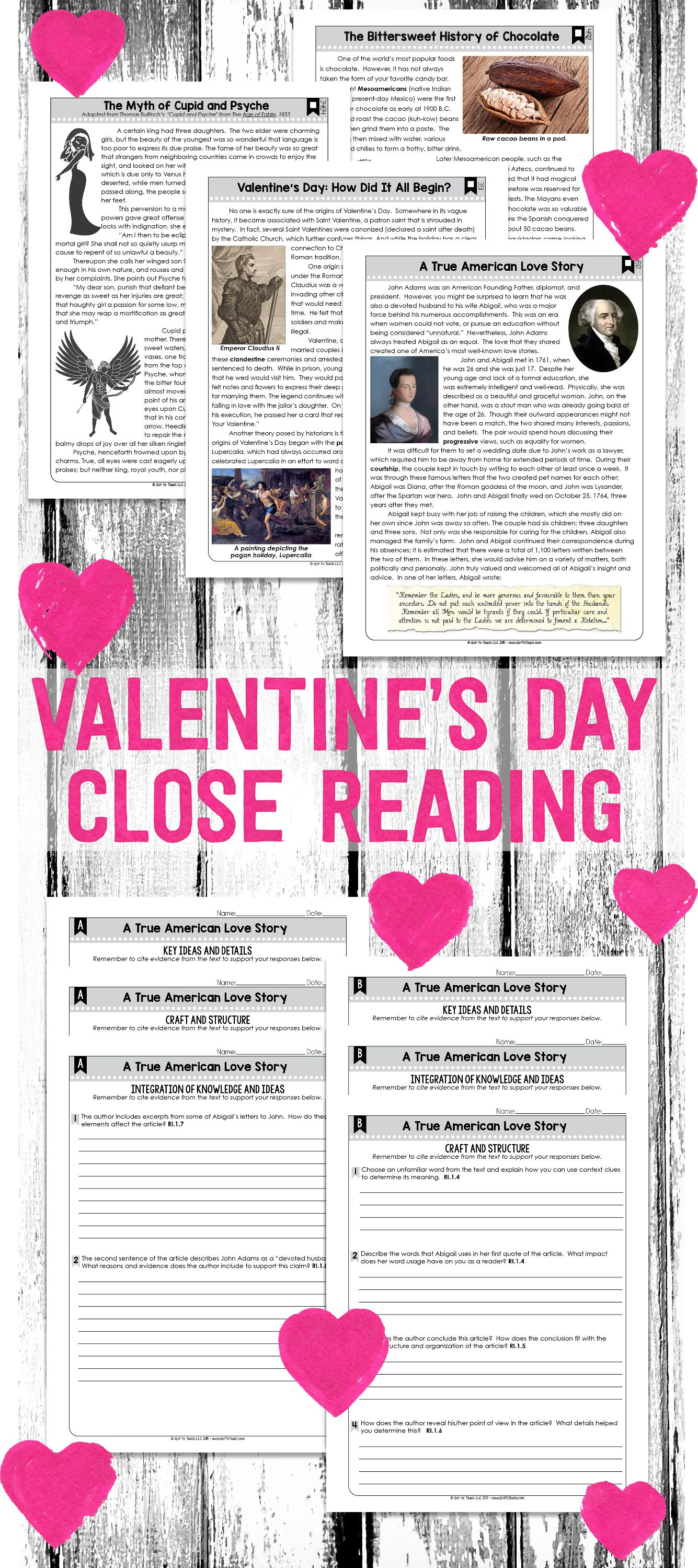 Close Reading Passages For Valentine S Day Grades 4 8