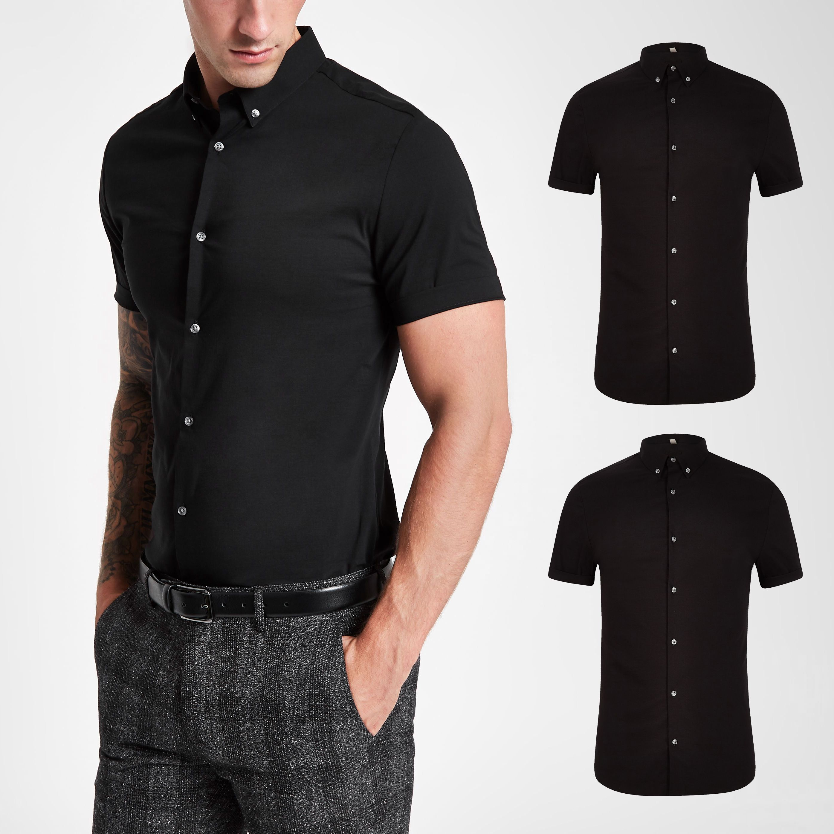 Mens River Island Black muscle fit short sleeve shirt 2