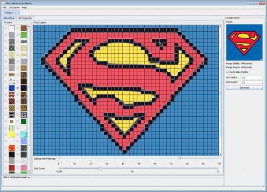 Superman Logo Lettering Minecraft Structures Pixel Art
