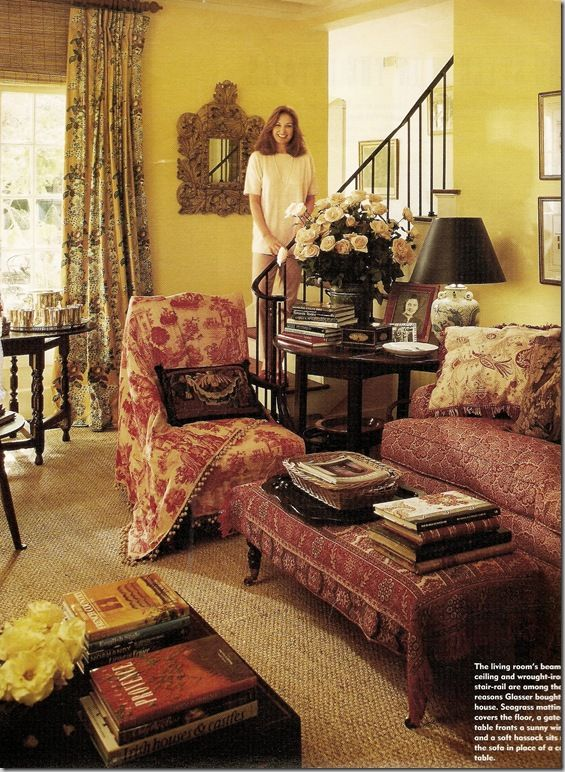 toile upholstered chair | 1994: The dhurri has been replaced by seagrass and a smaller area rug ...