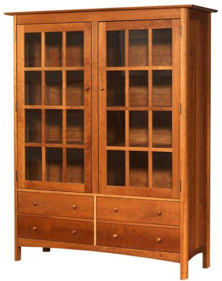Modern Shaker China Cabinet Made In The Usa Solid Wood Bookcase