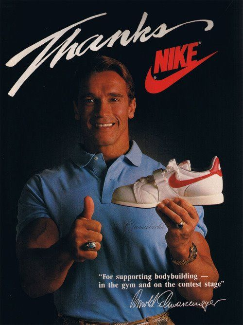 Hollywood Action Star Arnold Schwarzenegger Advertises Nike Sneaker In 80s Nike Ad Vintage Ads Vintage Nike