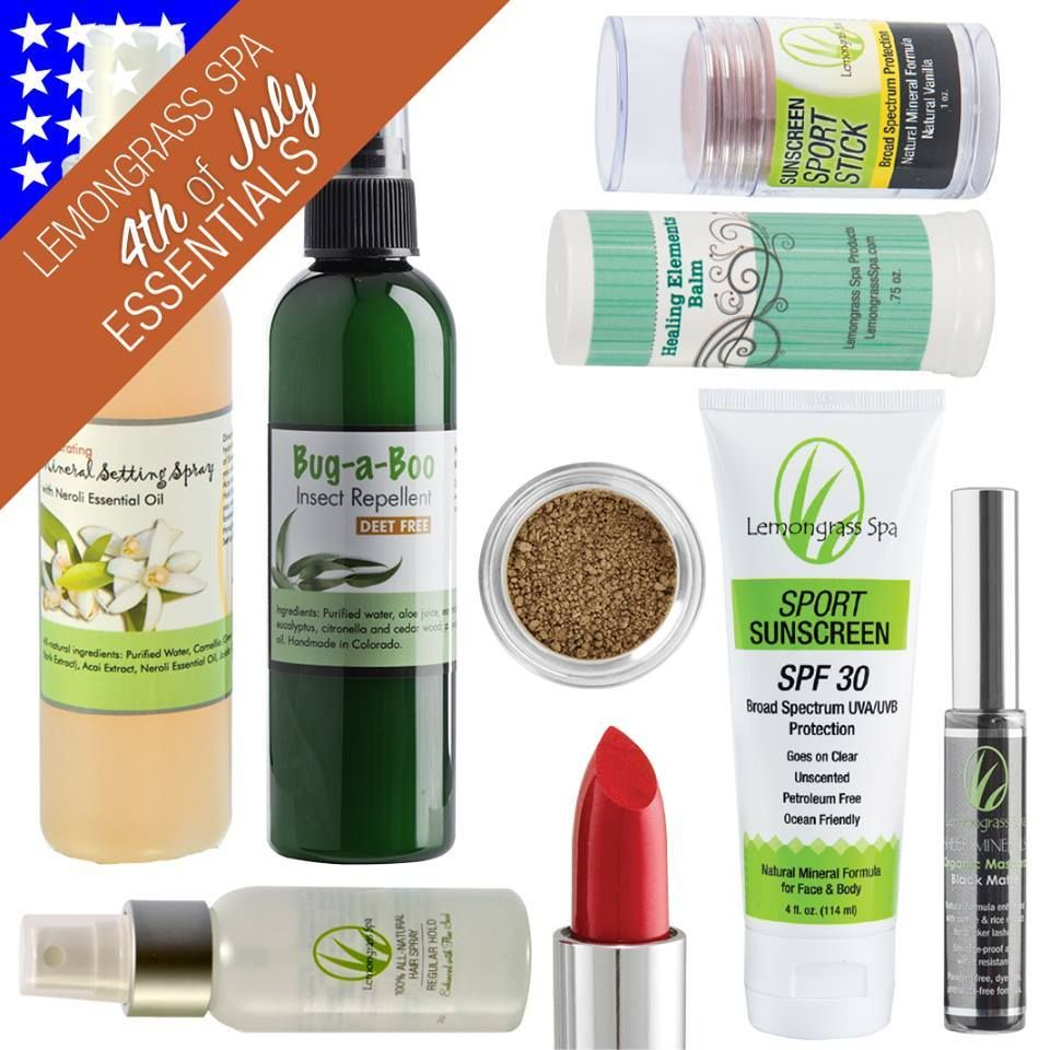 4th of July is almost here!!!!  In preparation for a day filled with beach or pool, barbecue, fireworks and more, we've put together some of our independence day essentials – everything from Sport Sunscreen Lotion (to protect skin from harmful rays), Organic Crème Lipstick in Siren (to add a pop of patriotism to your lips), and Mineral Setting Spray (to keep skin hydrated and glowing). Wherever the day takes you, let your American-beauty shine with Lemongrass Spa!!