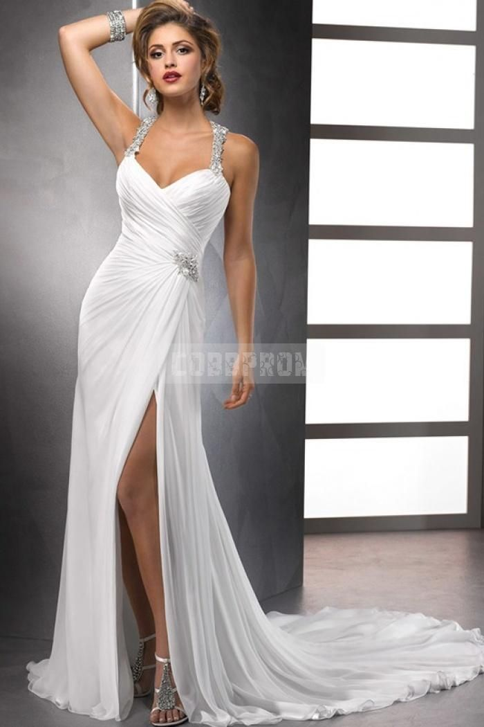 Sexy Halter Beading T-back Open Front Ruching A-line Wedding Dress ...