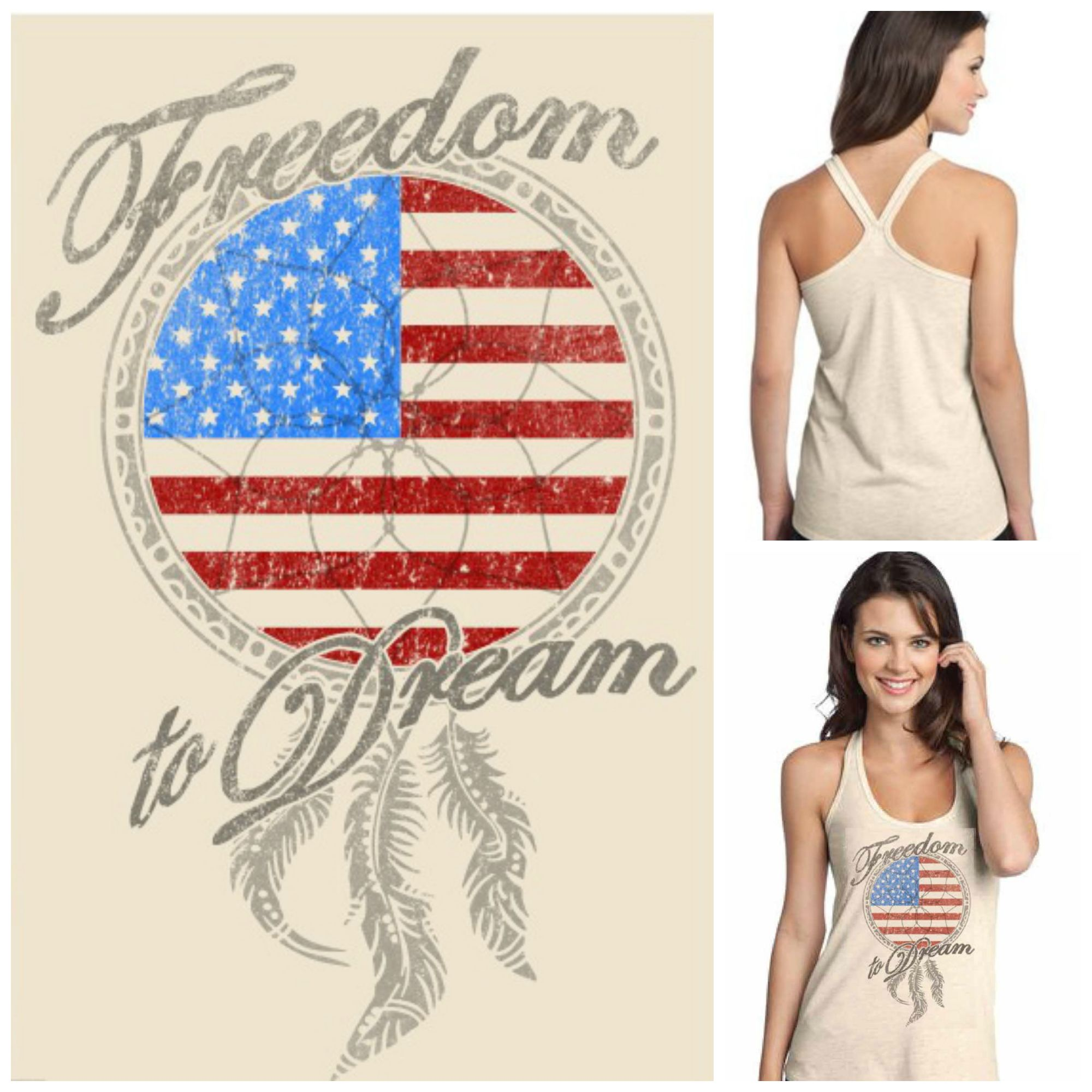 """""""Freedom to Dream"""" T Back Tank $30 includes shipping  tax www.taylorspears.com"""