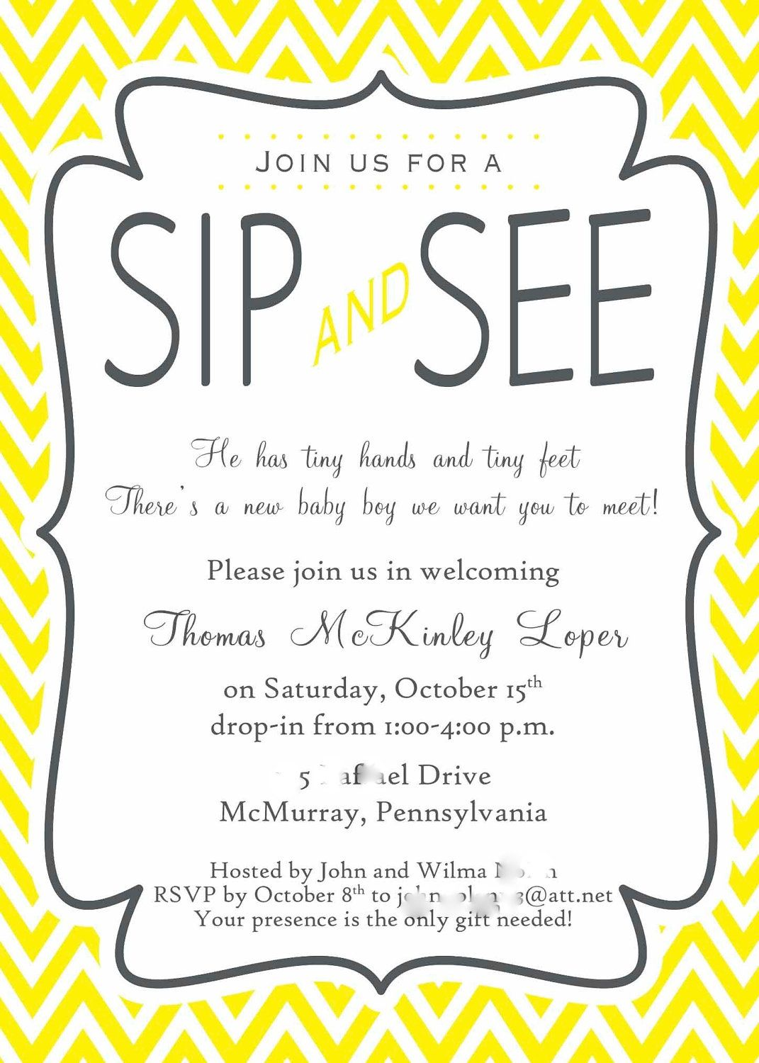 Yellow And Gray Chevron Stripe Sip And See Invitation 28