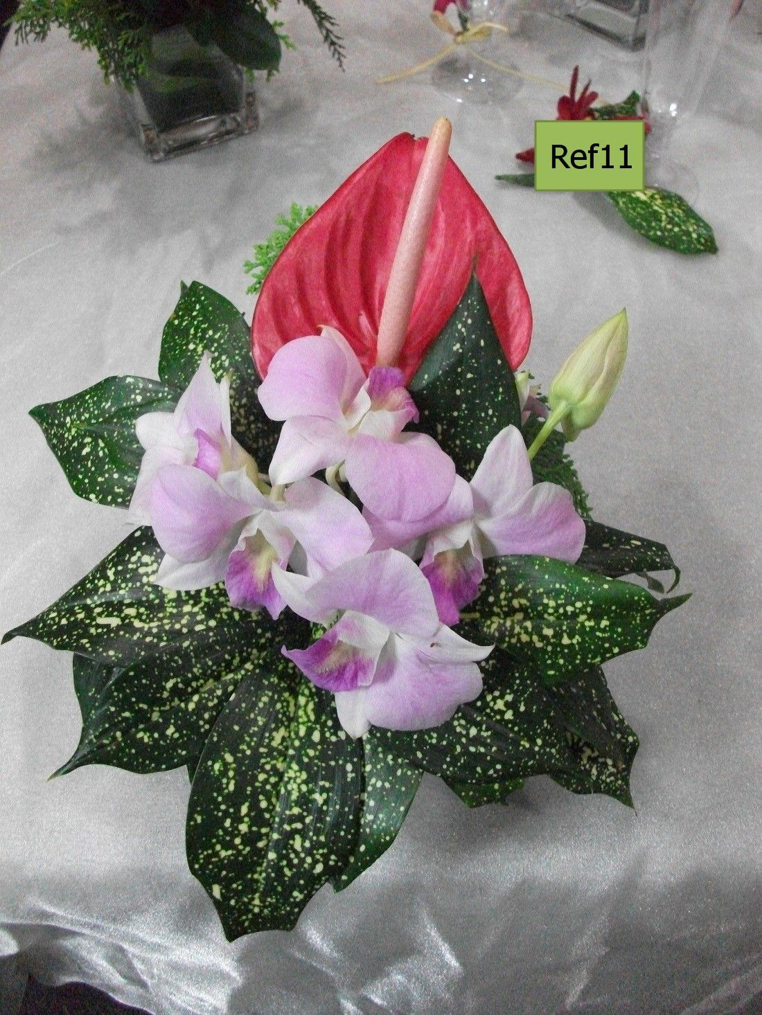 Ref11: Pink Orchids with Anthurium