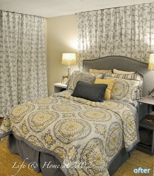 Basement Bedroom Remodel Fake A Window And Hide A Door With Curtains For The Home