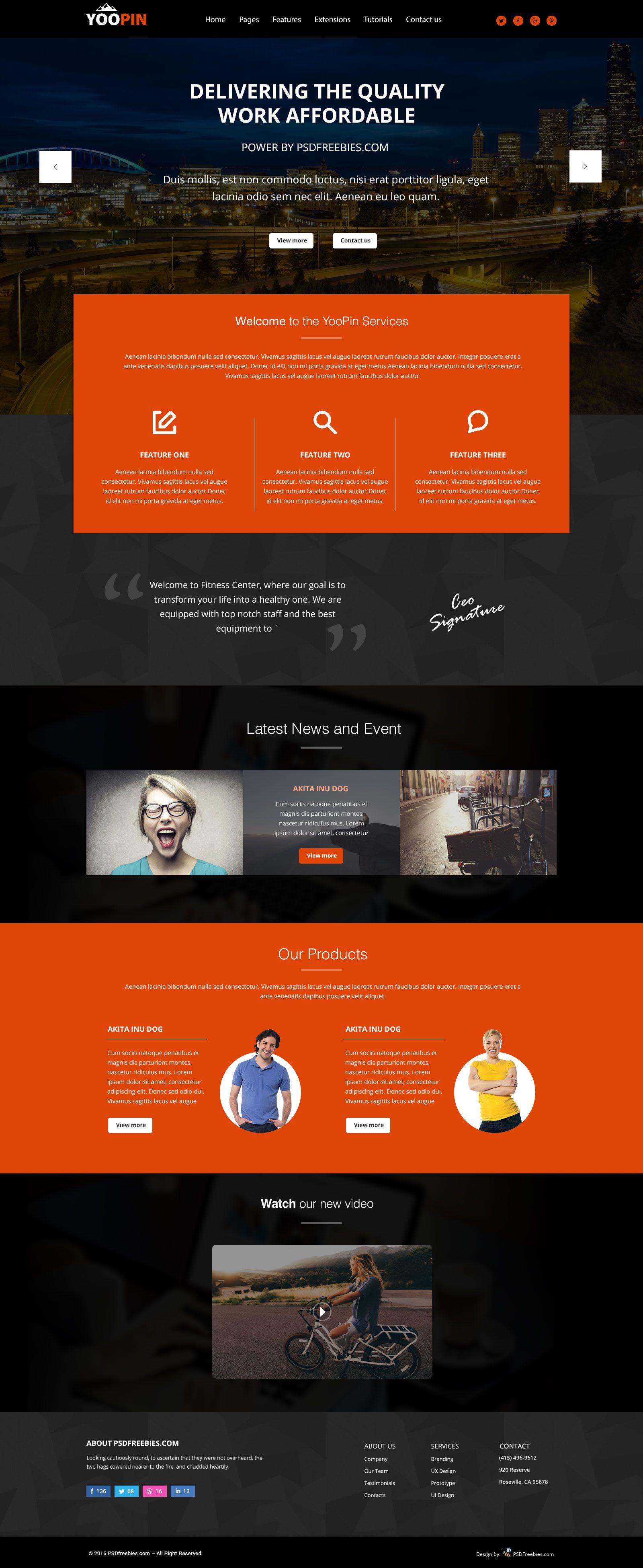 Yoopin Multipurpose Modern Website Template Free Psd Freepsd