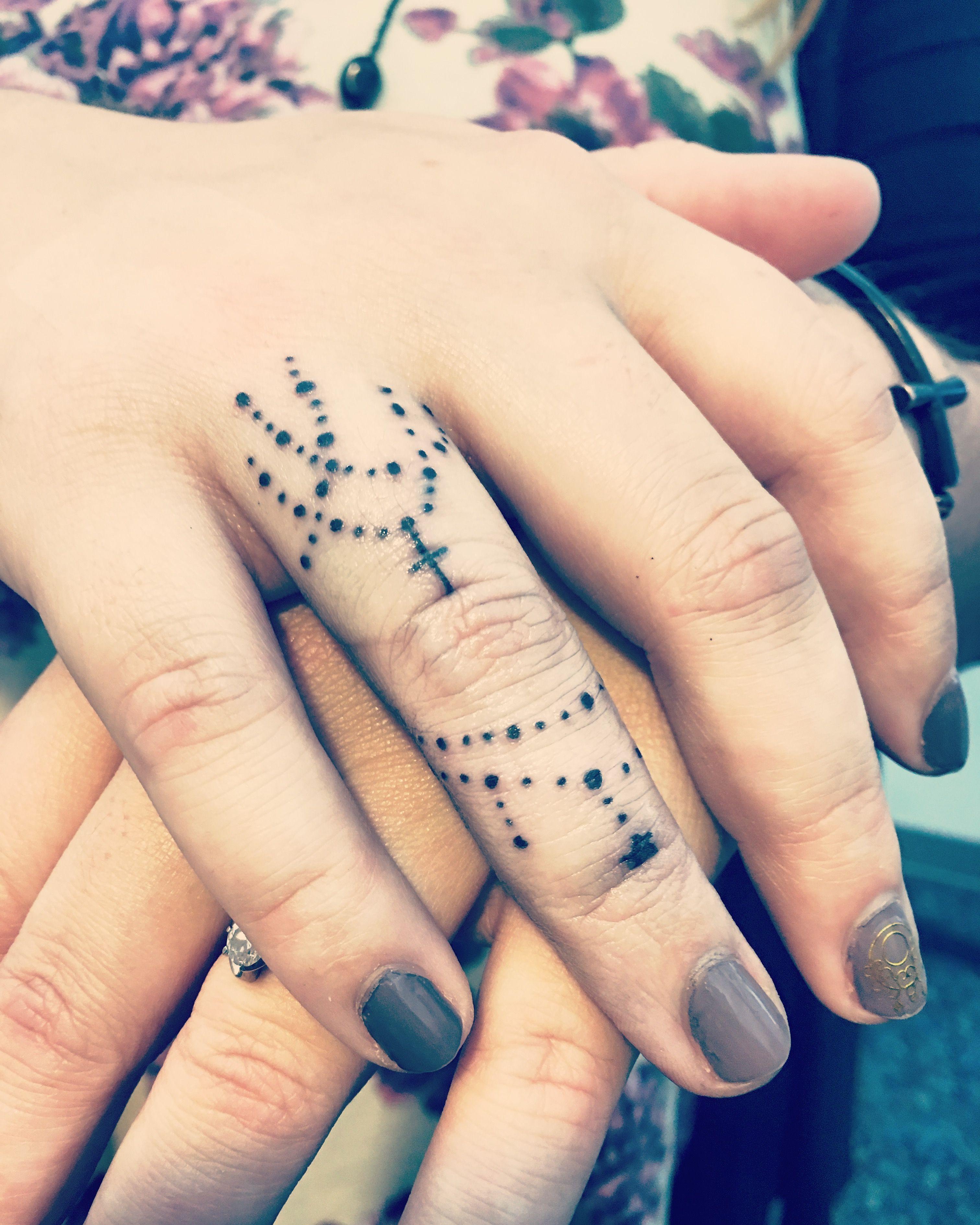 Cross finger bead tattoo Tattoos, Finger tats, Geometric
