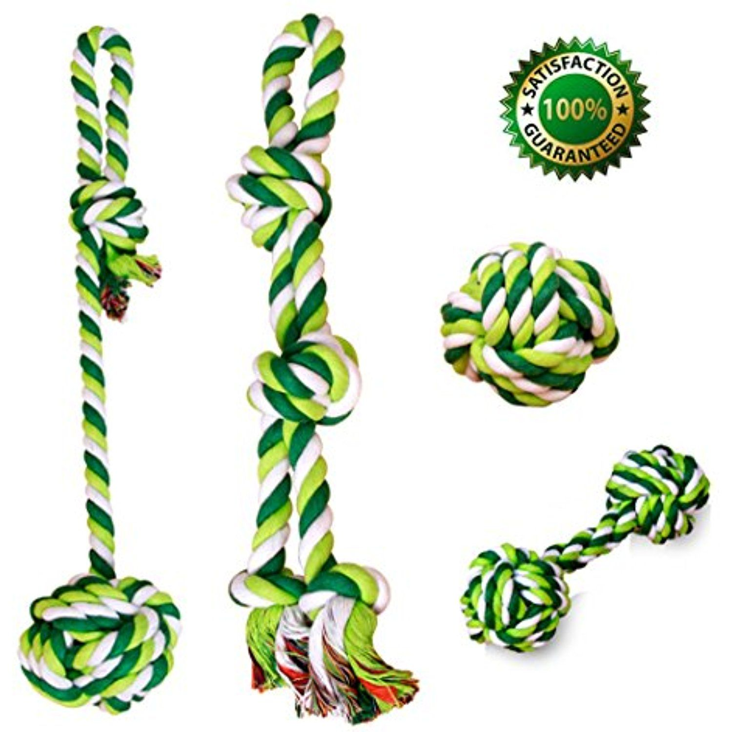 Dog Rope Chew Toys 4 Different Durable Ineractive Toys With Cotton