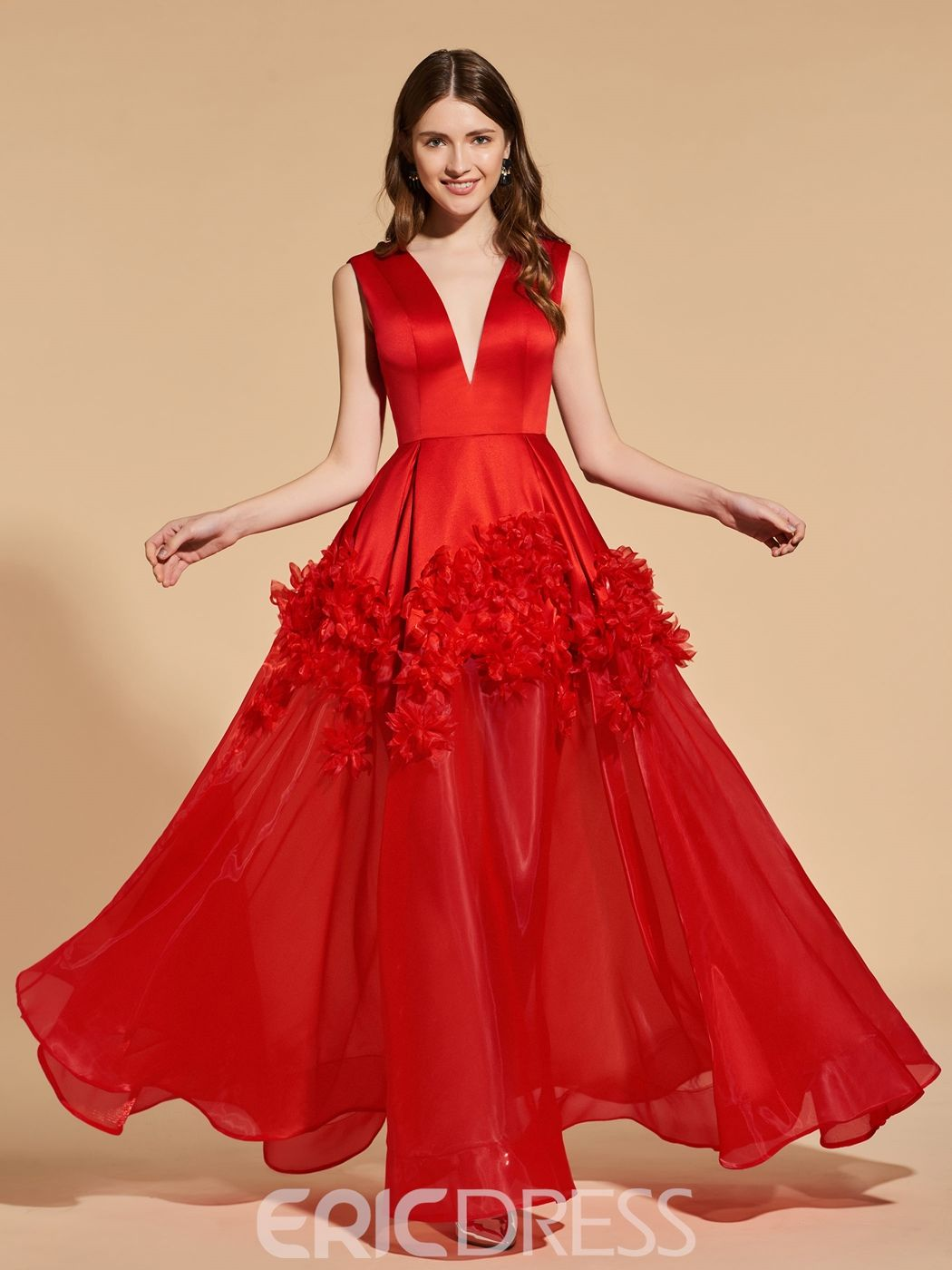 a095854bc5 Ericdress A Line V Neck Flower Applique Red Prom Dress