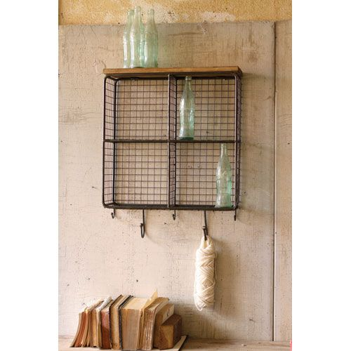 Kalalou Natural Wire Mesh Four Square Cubbies w/ Raw Wooden Top ...
