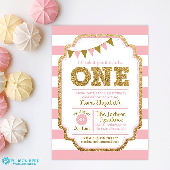 1st birthday invitation pink and gold