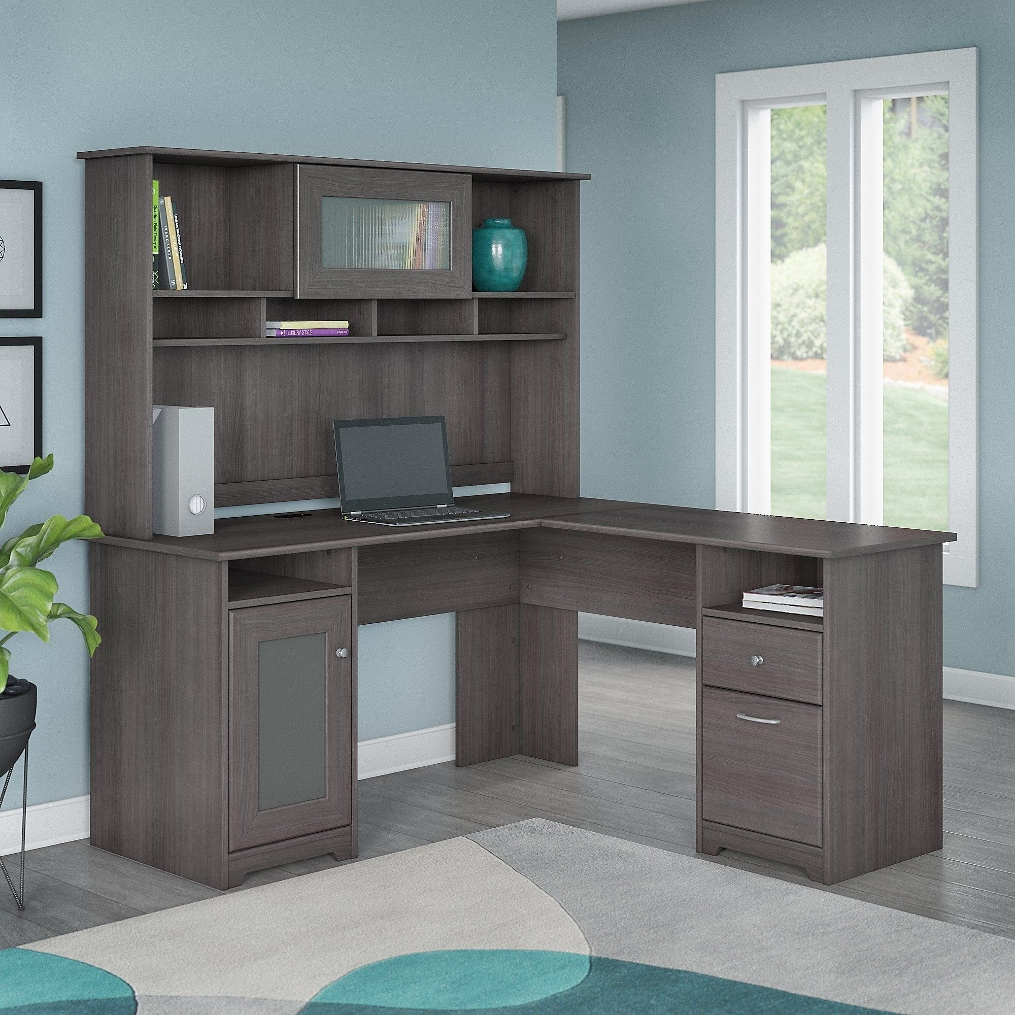 Bush Furniture Cabot L Shaped Desk With Hutch Wood Finish Grey