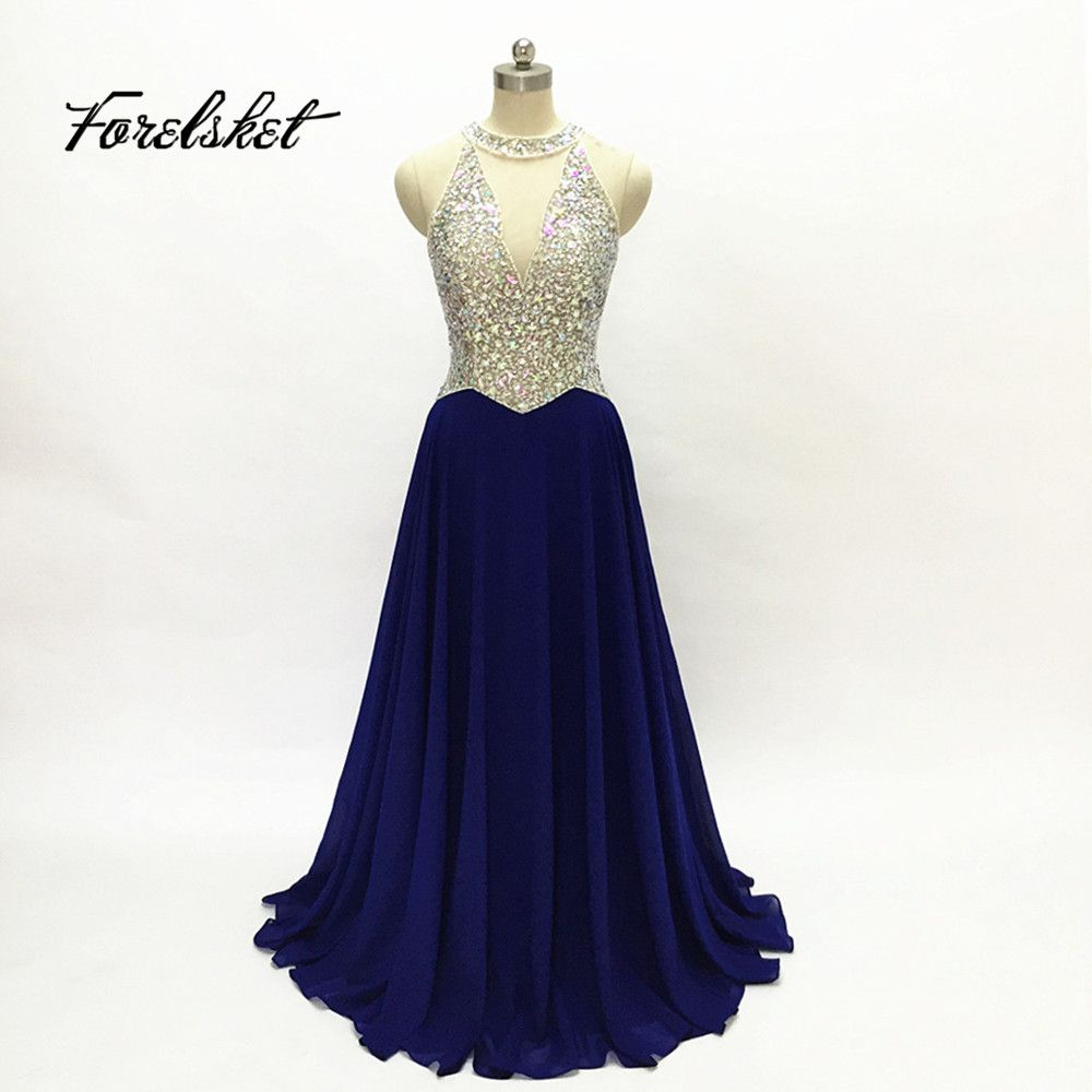 Click to buy ucuc new navy blue red halter prom dresses stunning