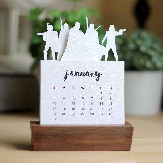 2016 Minimalist Paper Cut Desk Calendar With Solid Wood