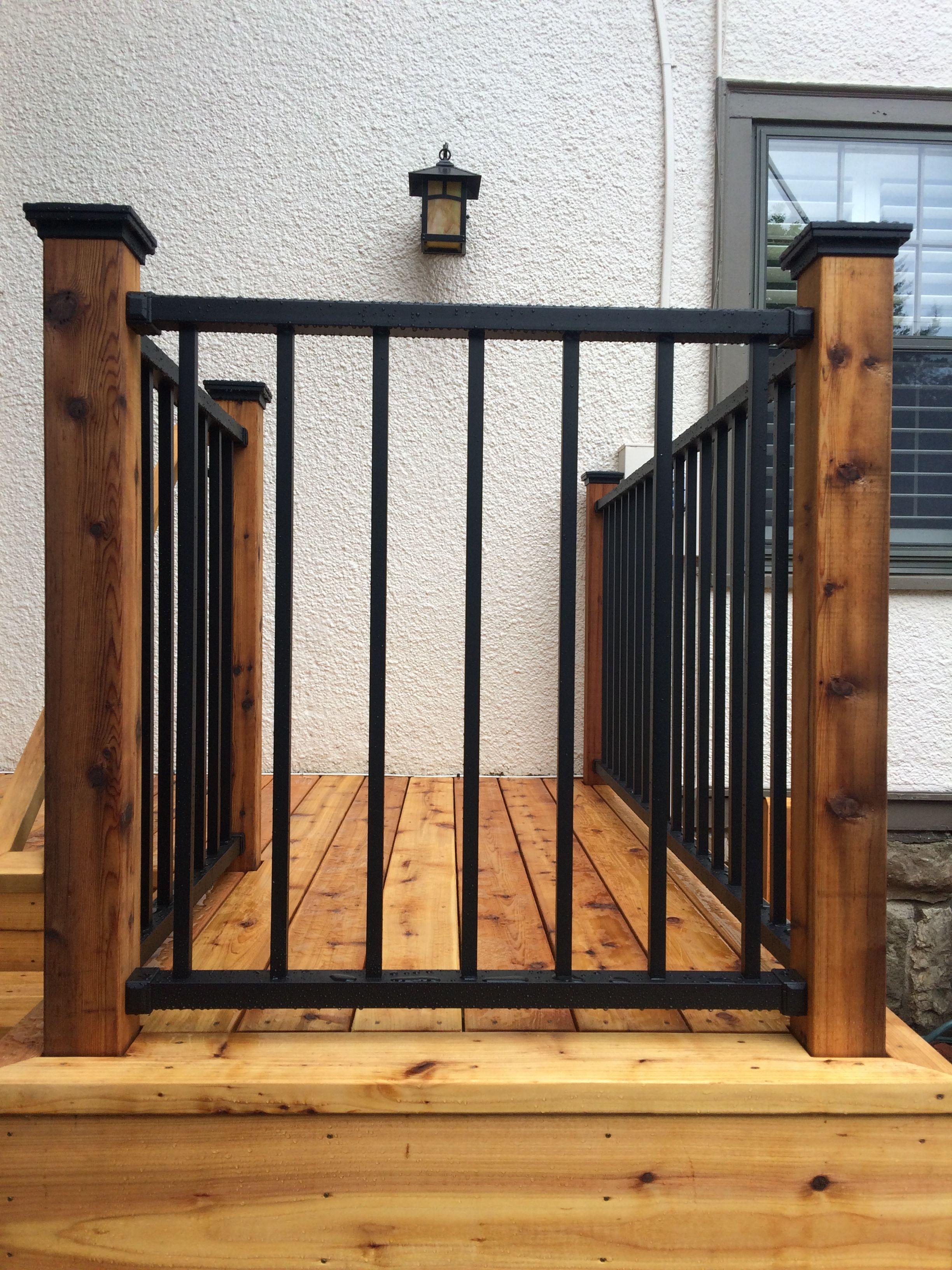 Westbury Aluminum Railing Black Attached To Cedar Posts | Black Outdoor Stair Railing | Interior Stair | Modern | Pipe | Composite Deck | 2 Step