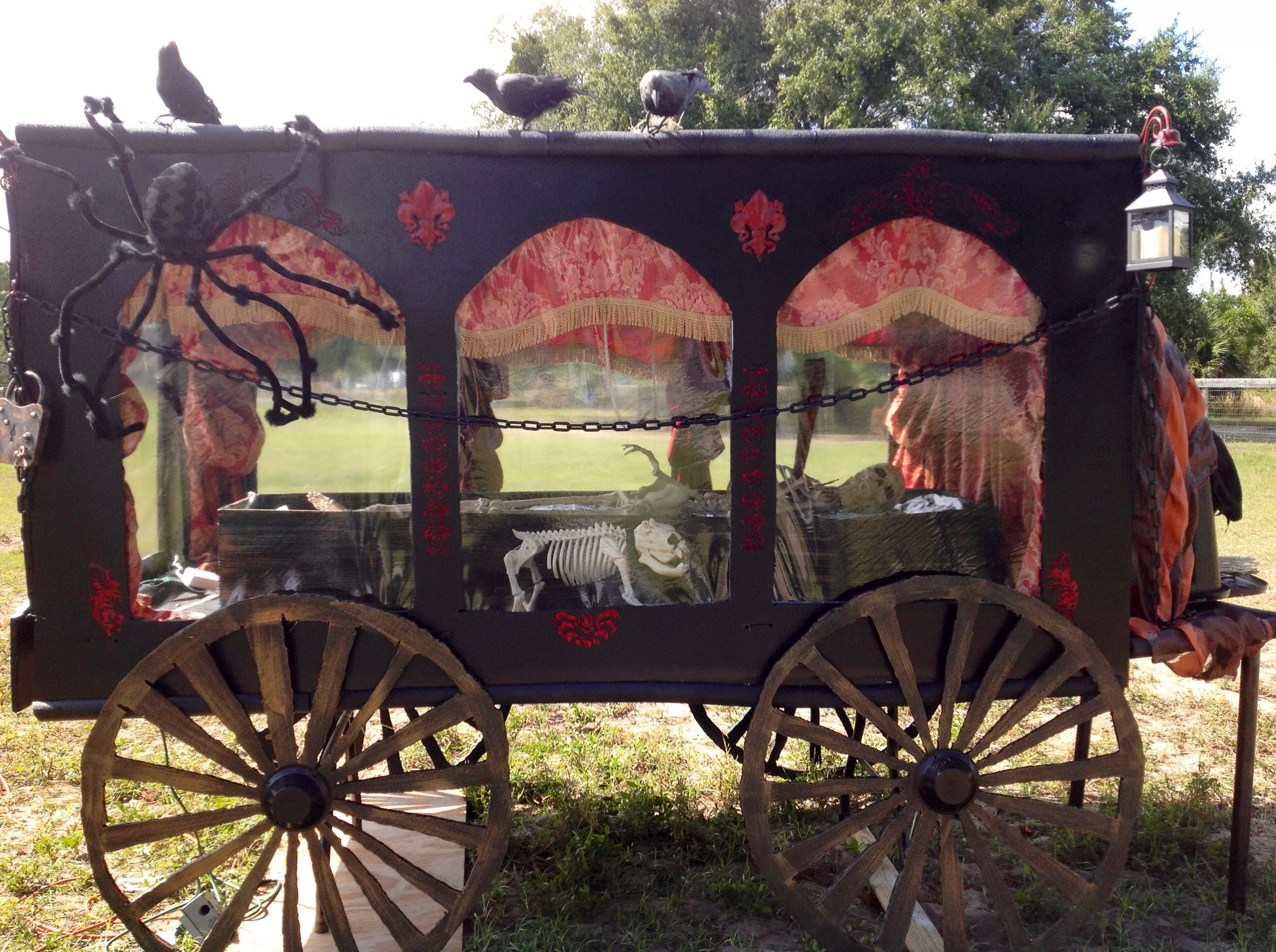 Halloween hearse!! Made with foam core board, table and paint.