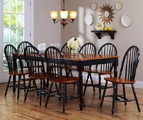 9 Piece Farmhouse Table New Dining Set 8 Chairs Black Oak Living Home House Room