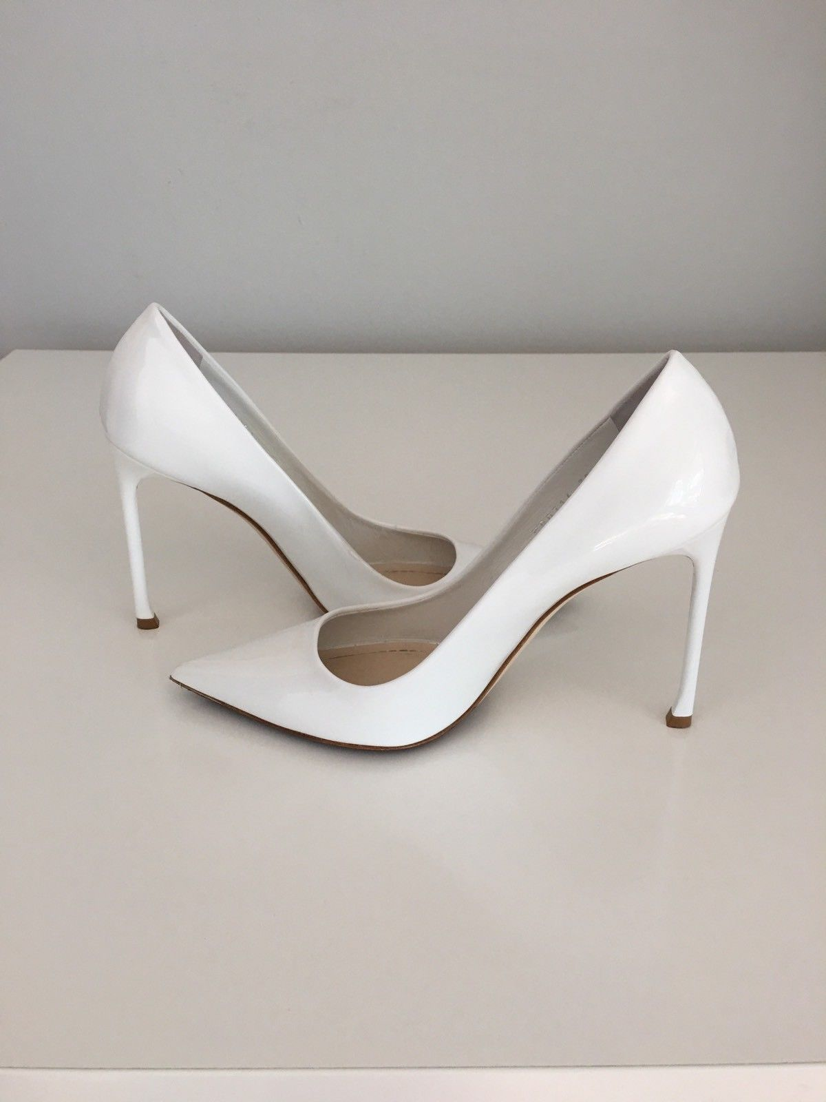 6af3aacbfd6 $660 + Christian Dior White Patent Leather Pointy Toe Pump Heel Shoes Size  38-8