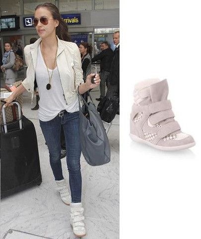 Irina Shayk Beige Wedge Sneakers
