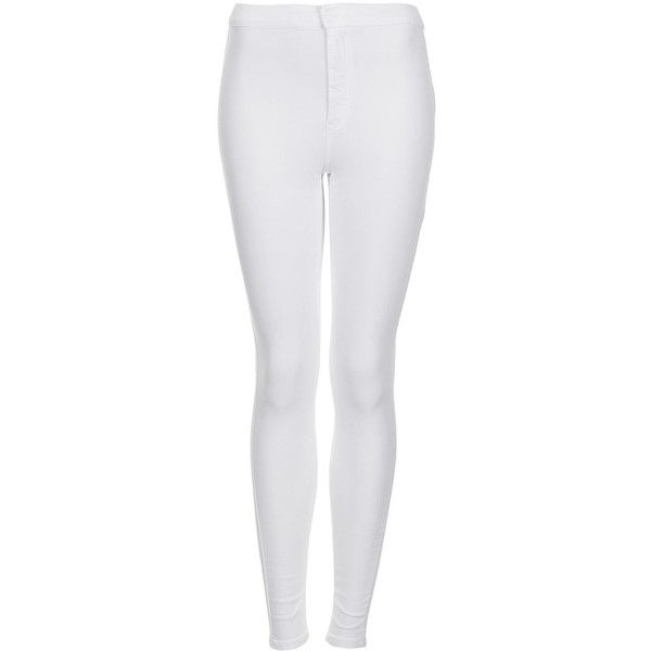 TOPSHOP MOTO White Joni Jeans (13 CAD) ❤ liked on Polyvore featuring jeans, pants, bottoms, pantalones, topshop, multi, high-waisted jeans, high rise jeans, high waisted jeans and white high-waisted jeans