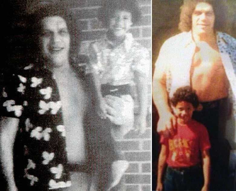 """Andre the Giant and a young  Dwayne""""the Rock"""" Johnson"""