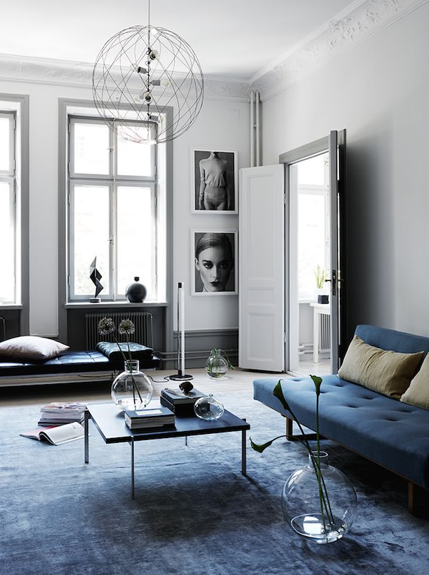 Black and navy in an elegant Swedish home Interiors Pinterest
