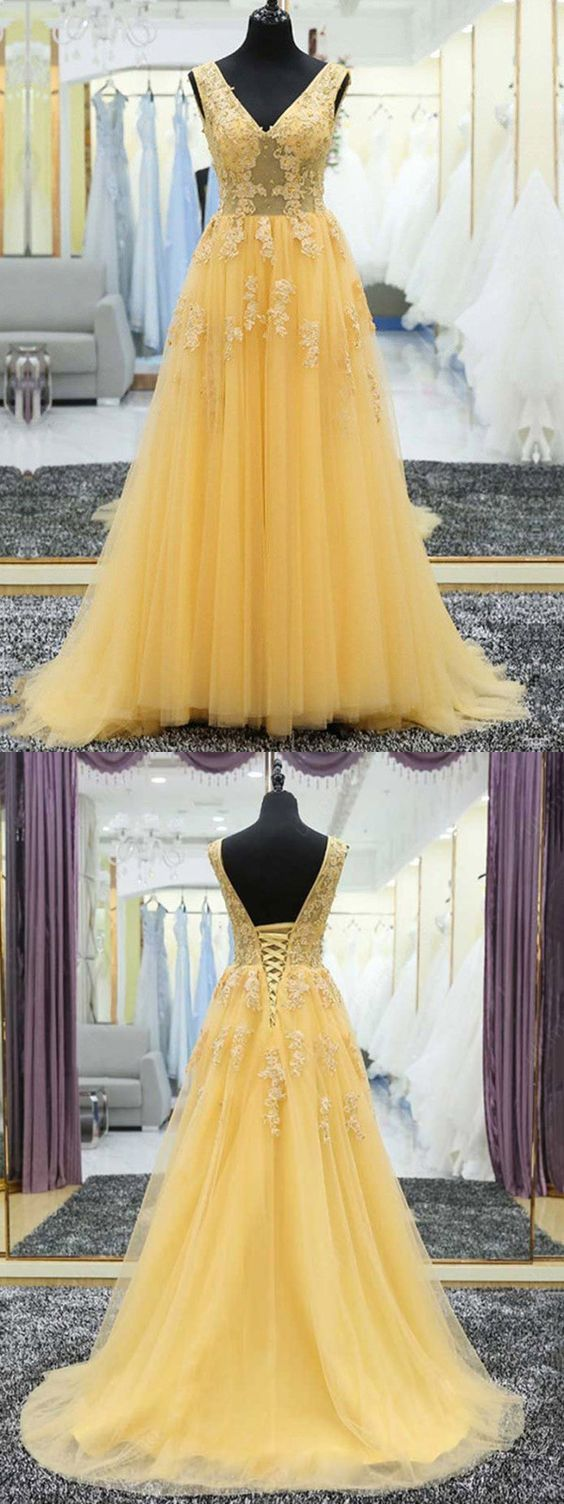a line v neck prom dress modest cheap long yellow prom dress