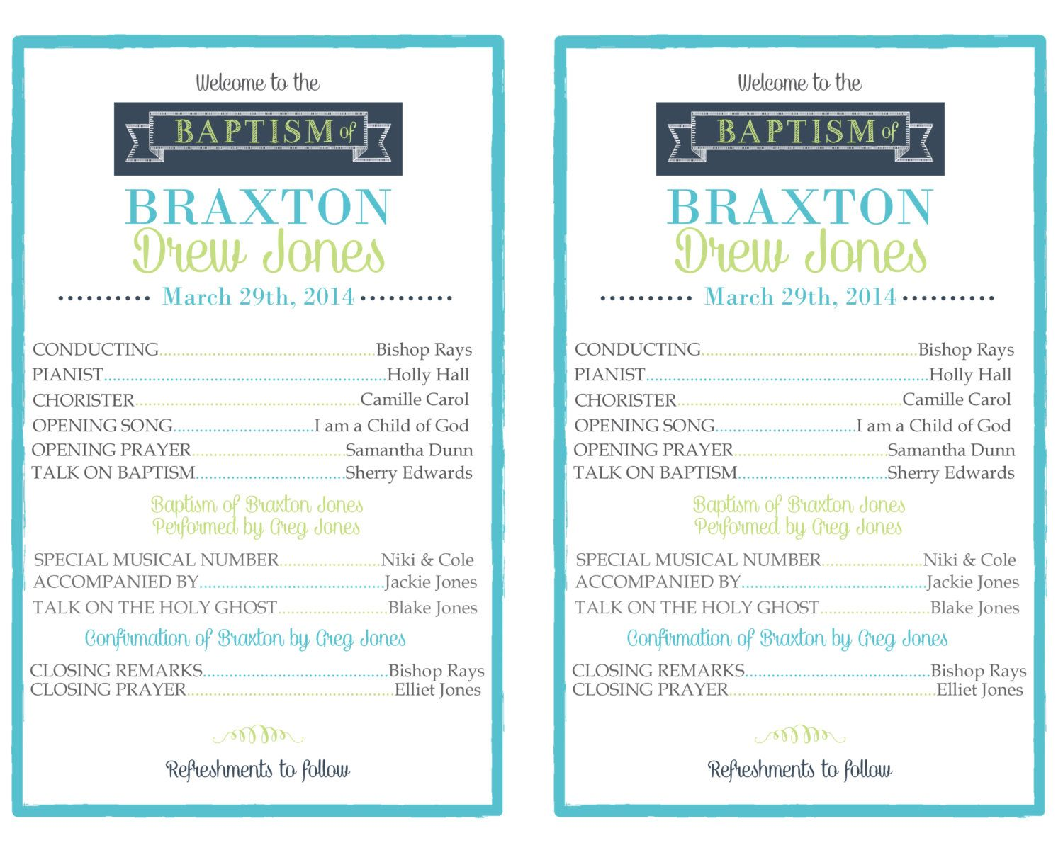 Custom Printable Lds Baptism Program By Digidoodlesstudio On Etsy