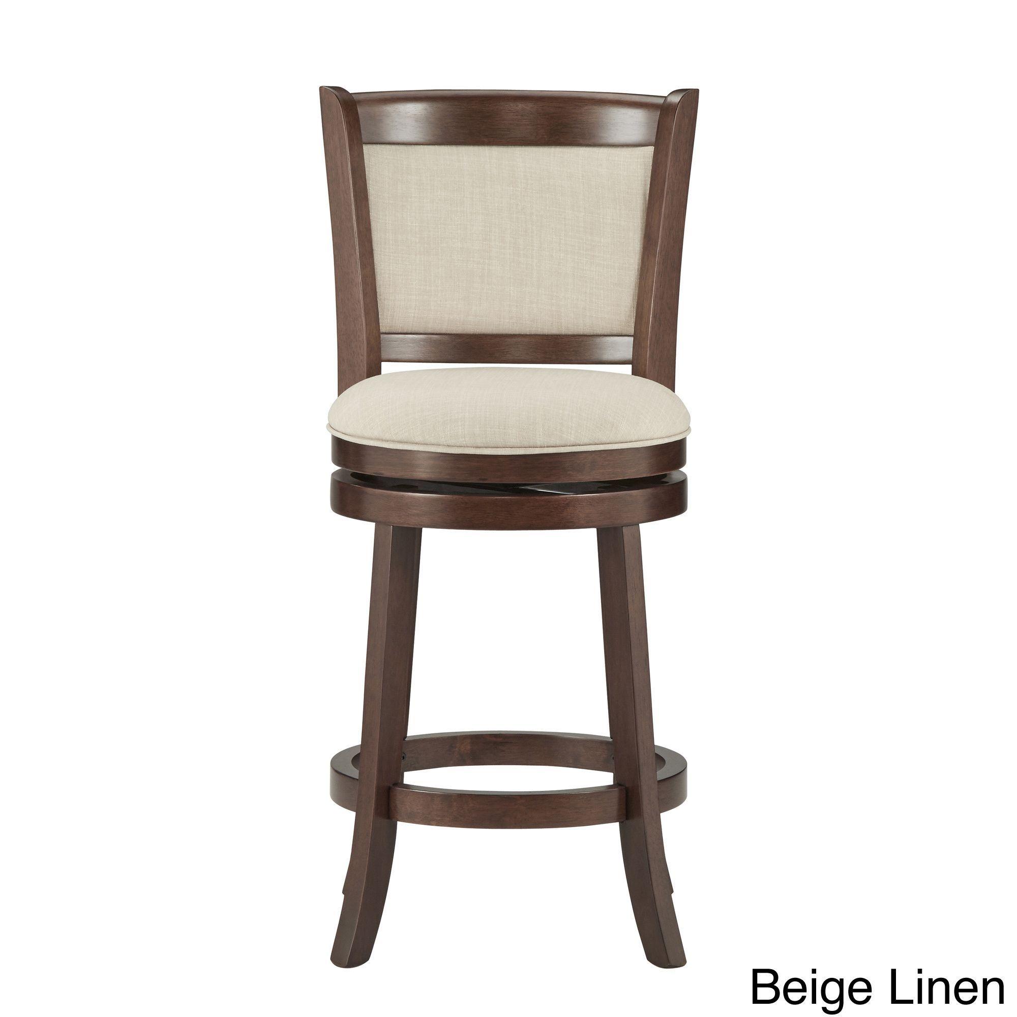 Tribecca Home Verona Panel Back Linen Swivel 24 Inch Counter Height Stool  (Beige Linen