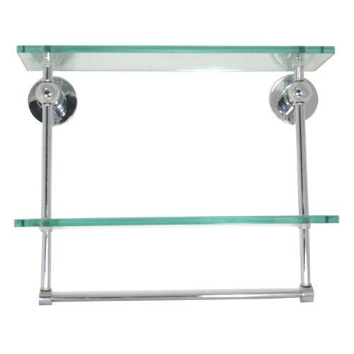 Ap 2 Style Double Glass Shelf With Towel Bar Polished Brass By Allied Brass By Allied Precision Ind Glass Shelves Kitchen Bathroom Wall Shelves Glass Shelves