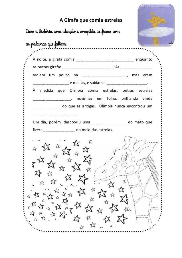 A girafa que comia estrelas ficha de leitura | Girafa
