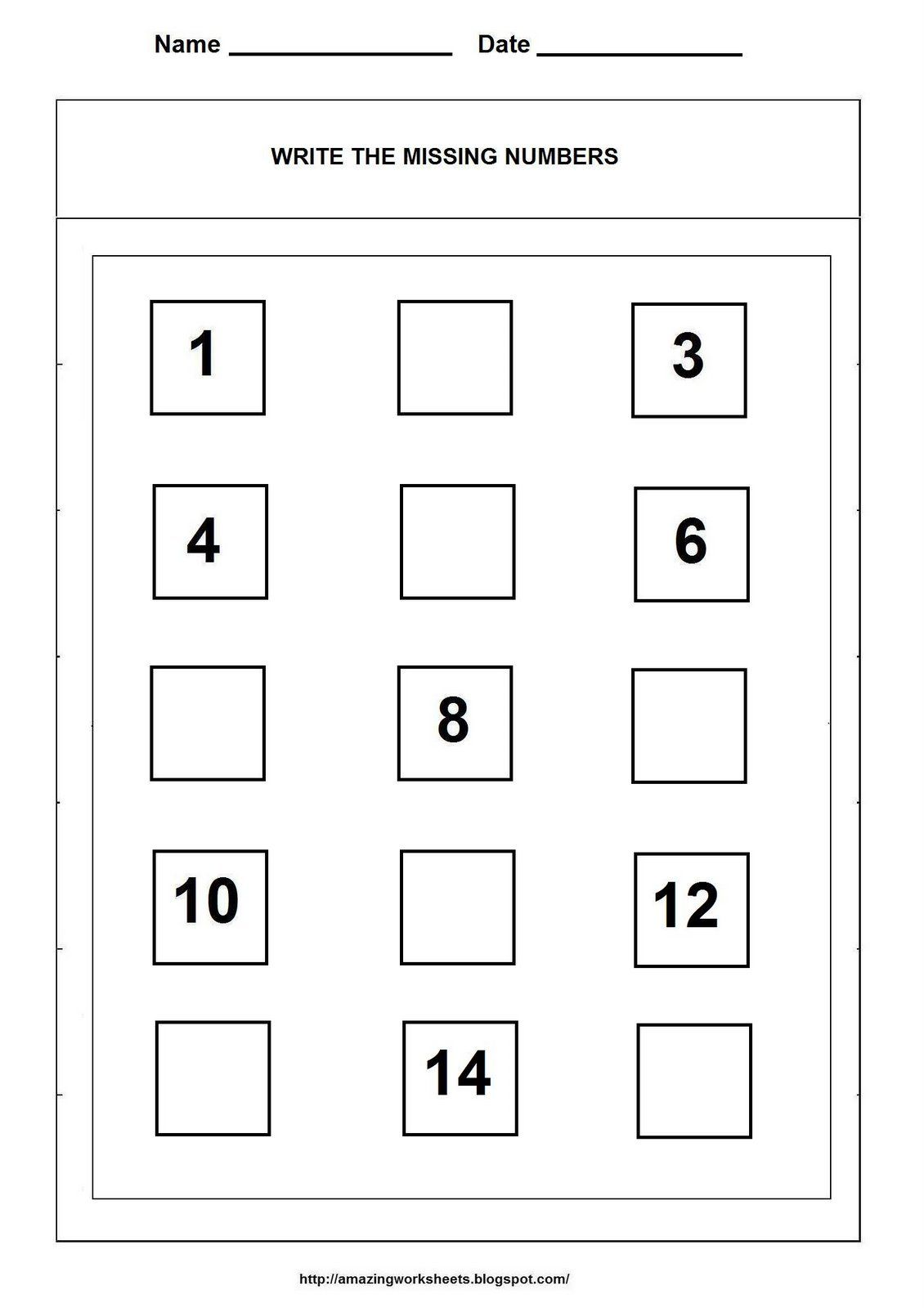 Missing Numbers Worksheet Homeschooling Math