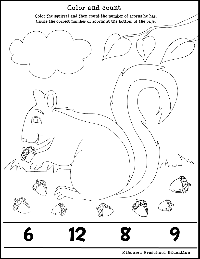 fall preschool worksheets fall season acorn song and math worksheet from kiboomu kids songs - Activity Worksheets For Toddlers