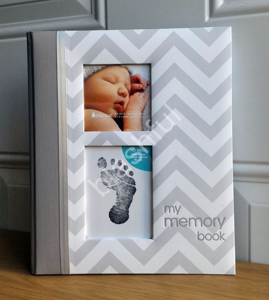 Pearhead Chevron Baby Book with Clean-Touch Ink Pad Included Gray