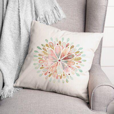 "Dakota Fields Watercolor Sunburst Square Pillow Cover & Insert in Blue, Size 18""H X 18""W X 1""D | Wayfair"