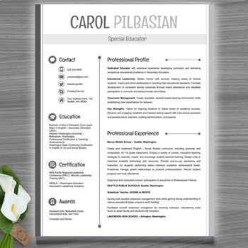 Teacher Resume Template (Clean) - EDITABLE with MS PowerPoint - powerpoint resume