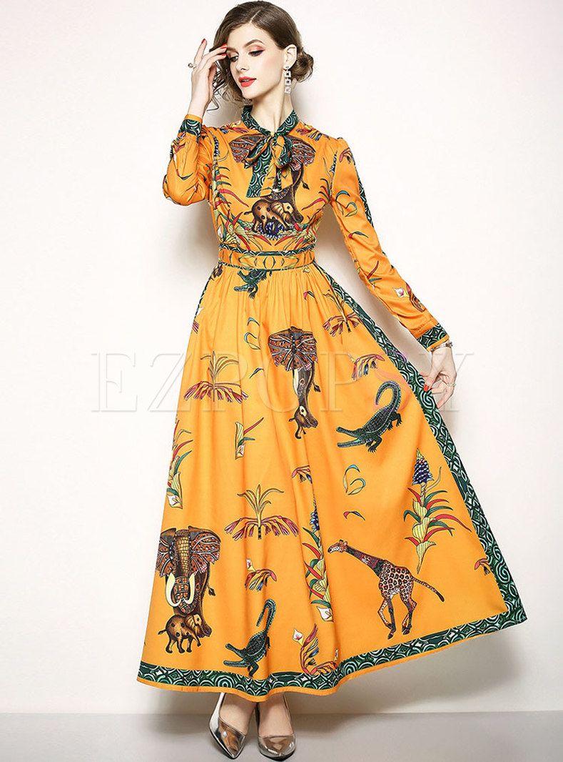 Print Long Sleeve Big Hem Maxi Dress Printed Maxi Dress Printed Long Dresses Womens Maxi Dresses [ 1066 x 789 Pixel ]