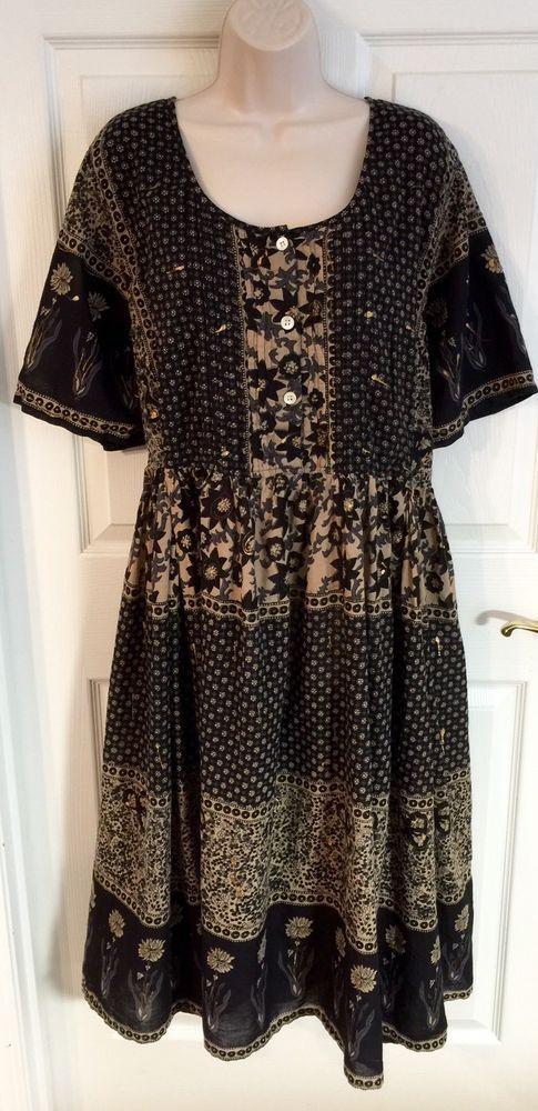 La Cera Plus Dress Size 1x Patio Lounge 100 Cotton Black Floral