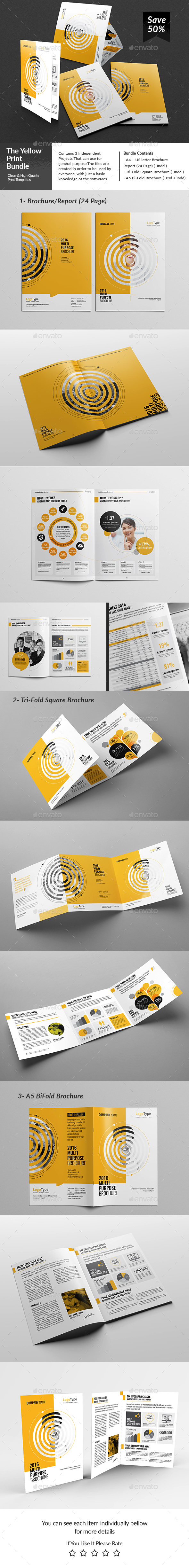 The Yellow Brochures Template PSD, InDesign INDD Bundle. Download ...