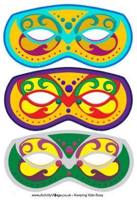 Link to 3 different free printable mardi gras masks
