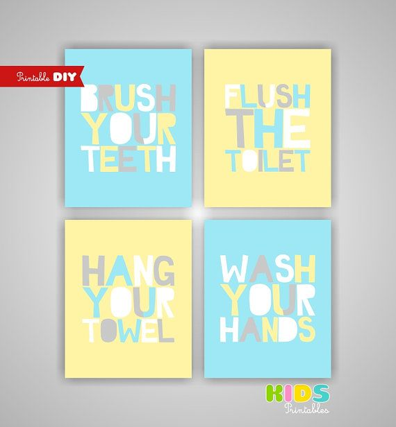Printable DIY Kids Bathroom Art Light Yellow by KidsPrintablesDIY ...